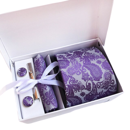 Purple Paisley Suit Accessories Set With Necktie, Tie Clip, Cufflinks & Pocket Square