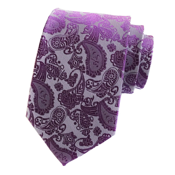 Classy Men Simple Purple Paisley Silk Tie