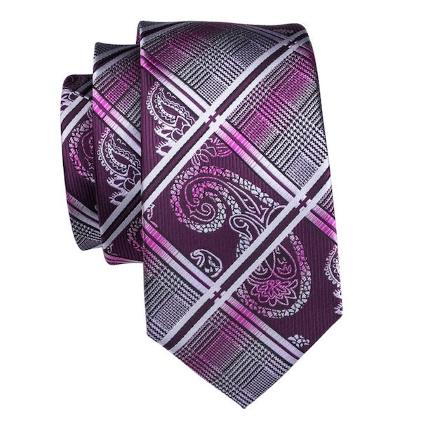 Purple silk tie with paisley, tartan check, and gradient stripe pattern