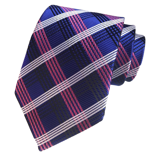 Classy Men Elegant Purple Checkered Silk Tie