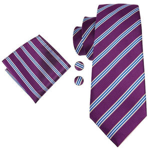 Purple striped necktie set with matching pocket square and cufflinks