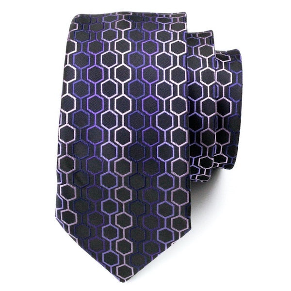 Purple hexagon silk tie