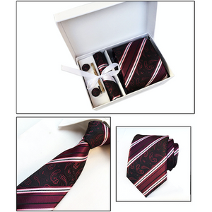 Red Black Striped Paisley Suit Accessories Set for Men Including A Necktie, Tie Clip, Cufflinks & Pocket Square