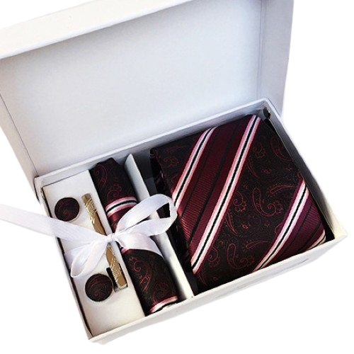 Red Black Striped Paisley Suit Accessories Set With Necktie, Tie Clip, Cufflinks & Pocket Square