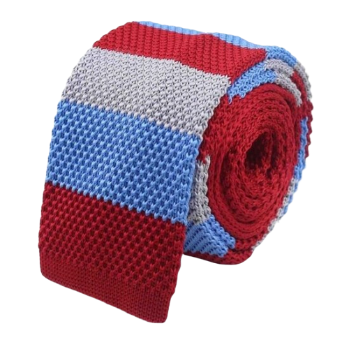 Classy Men Red Blue Grey Square Knit Tie