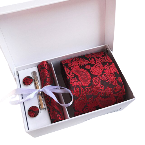 Red Paisley Suit Accessories Set With Necktie, Tie Clip, Cufflinks & Pocket Square