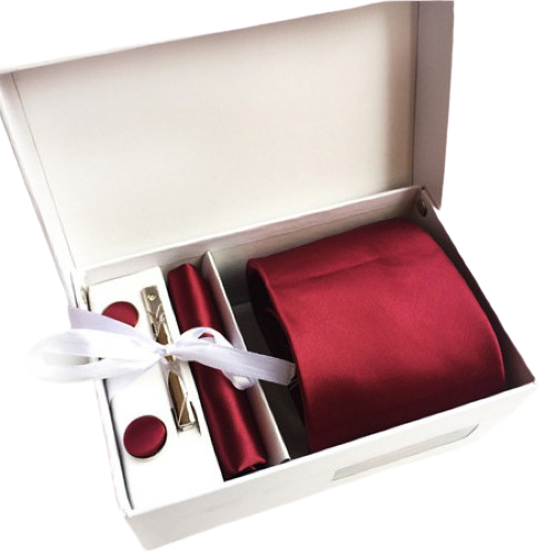 Red Suit Accessories Set With Necktie, Tie Clip, Cufflinks & Pocket Square
