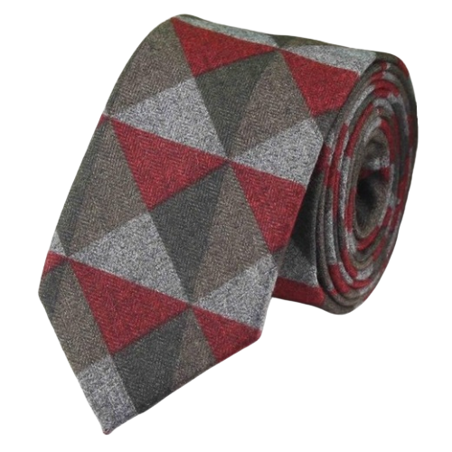Classy Men Red Triangle Cotton Necktie