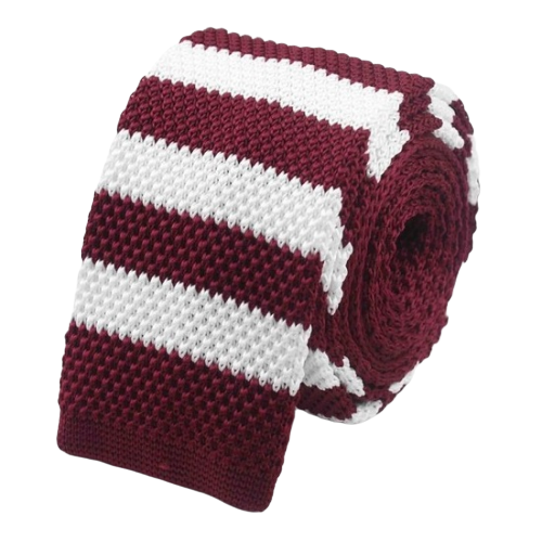 Classy Men Red White Striped Square Knit Tie