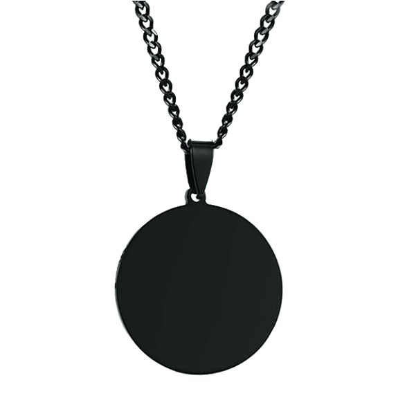 Round black pendant necklace for men