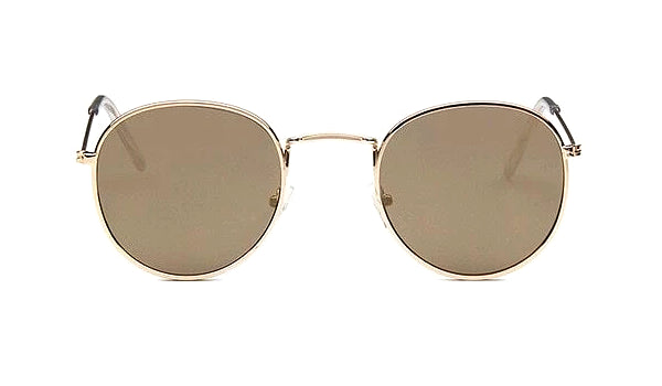 Classy Men Round Sunglasses Brown Gold