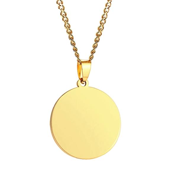 Round gold pendant necklace for men
