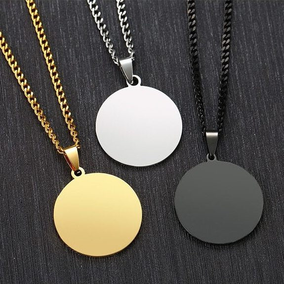 MA140 Ask for an engraved message on the back Men/'s Jewelry Rock Etched Sterling Silver Necklace Round Men/'s Pendant