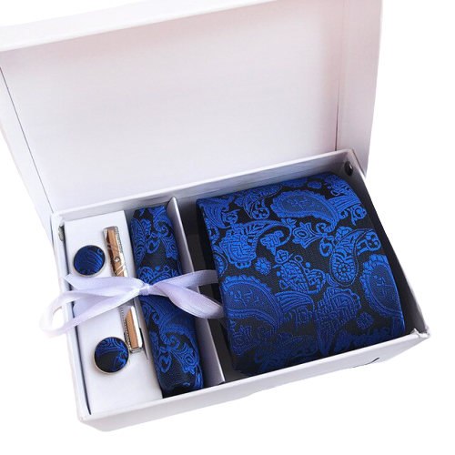 Royal Blue Paisley Suit Accessories Set With Necktie, Tie Clip, Cufflinks & Pocket Square