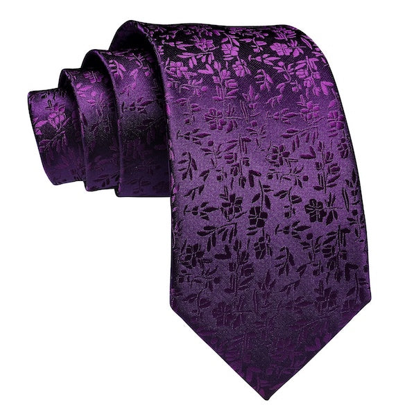 Royal purple floral silk tie