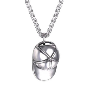 Silver baseball cap pendant necklace