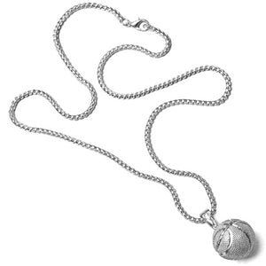 Silver basketball chain with real-looking basketball pendant