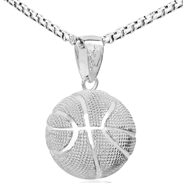 Silver basketball pendant necklace with chain