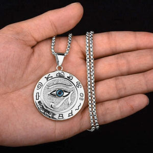 Silver Egyptian Eye of Horus pendant necklace for men