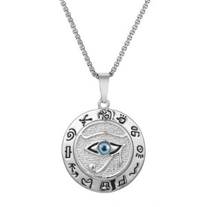 Silver Egyptian Eye of Horus pendant necklace with box chain