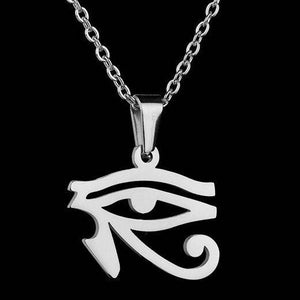 Silver Egyptian eye pendant necklace on a black background