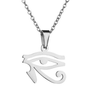 Silver Egyptian eye pendant necklace for men