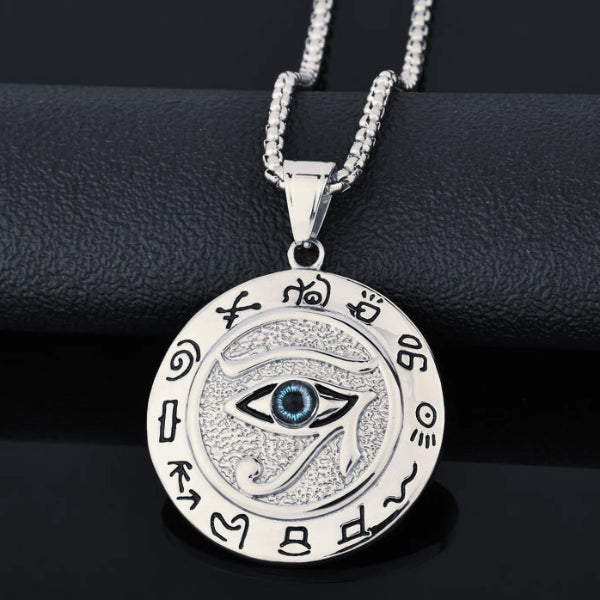 Silver Eye of Horus pendant with hieroglyphs
