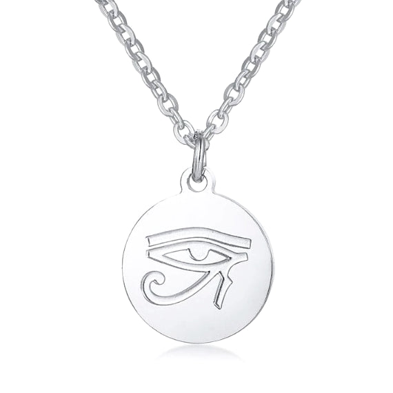 Silver round Eye of Ra pendant necklace for men