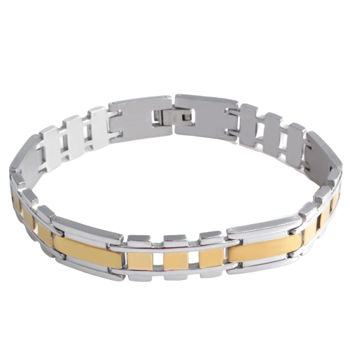 Classy Men Silver Gold Striped Steel Bracelet