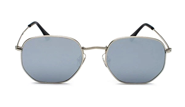 Classy Men Silver Mirror Hexagonal Sunglasses