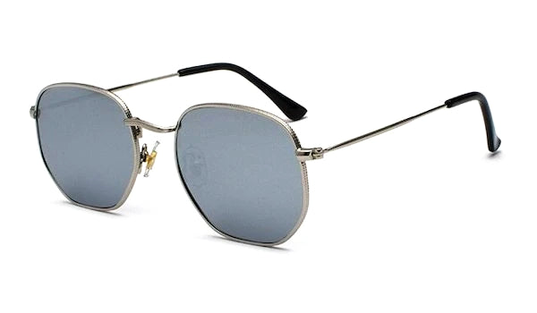 Men's silver hexagon sunglasses with mirror lenses