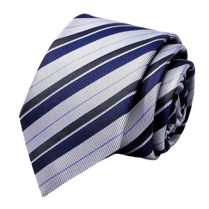Classy Men Silver Navy Blue Striped Silk Tie
