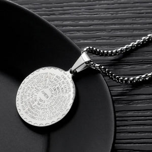 Classy Men Silver Serenity Prayer Pendant Necklace