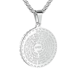 Silver Lord's Prayer pendant necklace for men