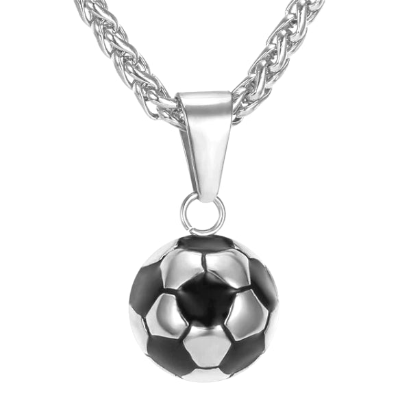 Silver soccer ball pendant and a silver wheat chain necklace