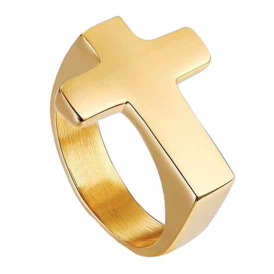 Simple gold cross ring made of stainless steel