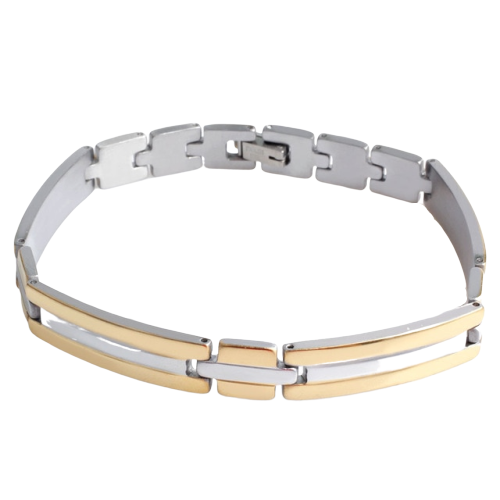 Classy Men Gold Silver Simple Steel Bracelet