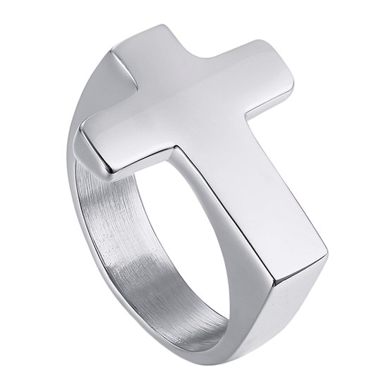 Simple silver cross ring made of stainless steel