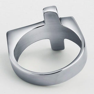 Men's simple silver cross ring made of stainless steel