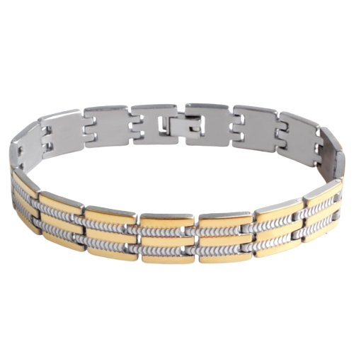 Classy Men Gold Silver Striped Steel Bracelet