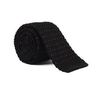 Classy Men Black Red Dot Square Knit Tie