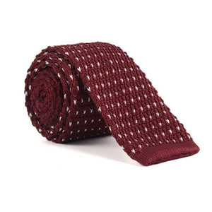 Classy Men Wine Red Dotted Square Knit Tie
