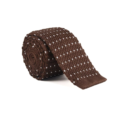 Classy Men Brown White Dot Square Knit Tie