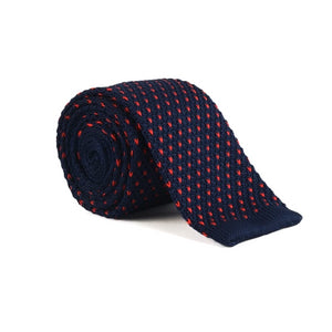 Classy Men Blue Red Dot Square Knit Tie