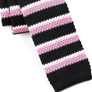 Classy Men Black Pink Striped Square Knit Tie