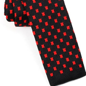 Classy Men Black Red Square Knit Tie