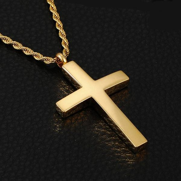 Classy Men Gold Tapered Cross Pendant Necklace