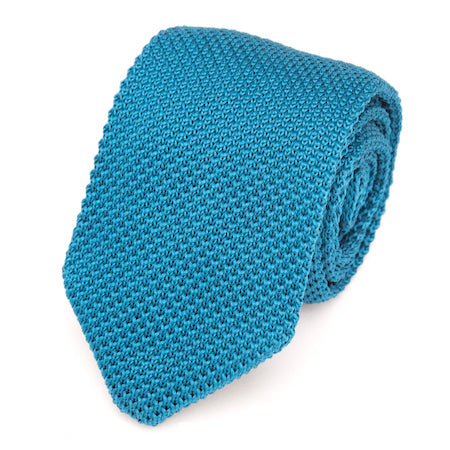 Classy Men Solid Turquoise Knitted Tie