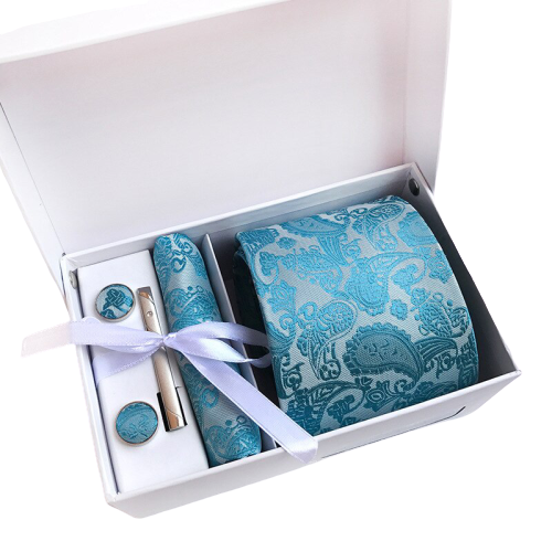 Turquoise Paisley Suit Accessories Set With Necktie, Tie Clip, Cufflinks & Pocket Square