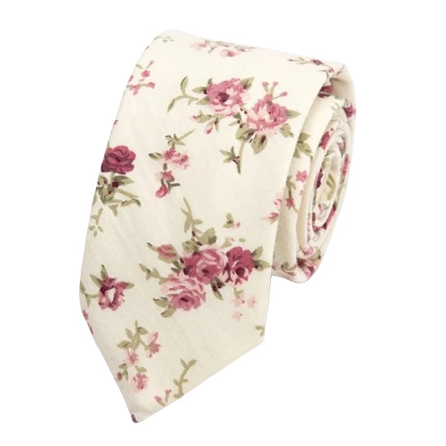 Classy Men White Pink Floral Skinny Cotton Tie